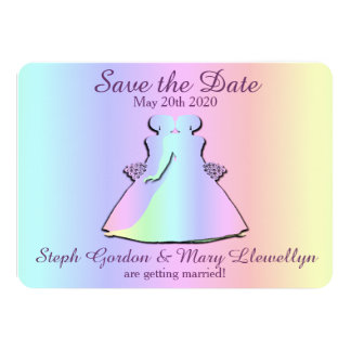 Rainbow Lesbian Wedding Save the Date Card 11 Cm X 16 Cm Invitation Card
