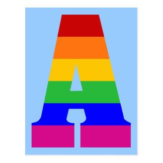 Rainbow Letter A Postcard