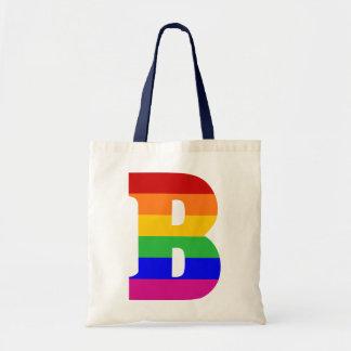Rainbow Letter B Tote Bag