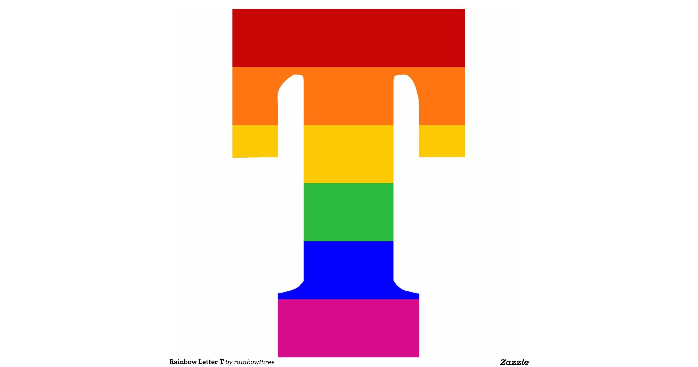 Rainbow letter t photo sculpture decoration zazzle for Letter t decoration