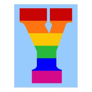 Rainbow Letter Y Postcard
