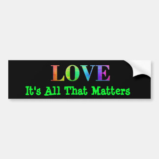 Rainbow LGBT Love Black Colors Heart Bumper Bumper Sticker