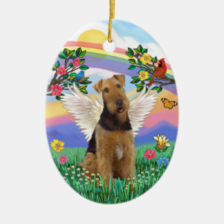Rainbow Life - Airedale Angel Ceramic Oval Decoration
