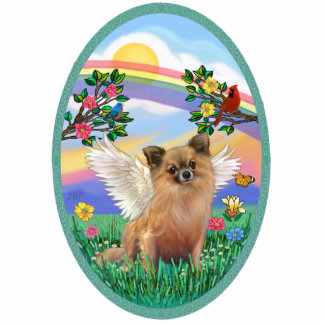 Rainbow Life - Long Haired Chihuahua Standing Photo Sculpture