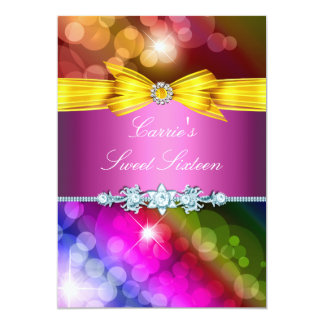 Rainbow Lights & Bow Sweet Sixteen Invite