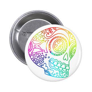 Rainbow Lines Sugar Skull in Love 6 Cm Round Badge
