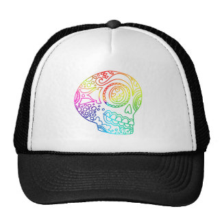 Rainbow Lines Sugar Skull in Love Cap