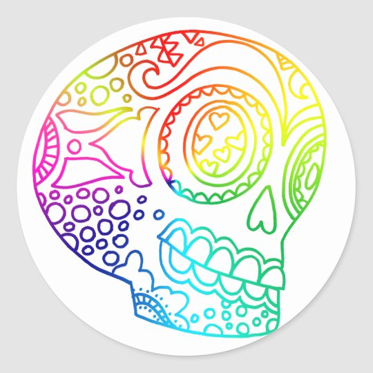 Rainbow Lines Sugar Skull in Love Classic Round
