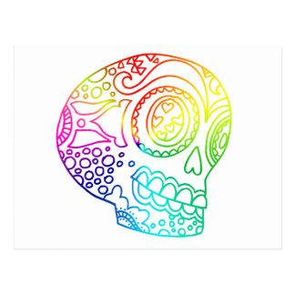 Rainbow Lines Sugar Skull in Love Postcard