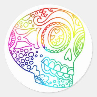 Rainbow Lines Sugar Skull in Love Round Sticker