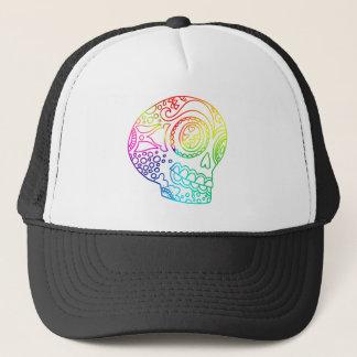 Rainbow Lines Sugar Skull in Love Trucker Hat
