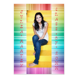 Rainbow Lines with Photo - Grad Announcement