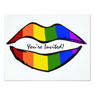 Rainbow Lips 11 Cm X 14 Cm Invitation Card