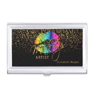 Rainbow Lips and Gold Confetti Business Card Holder