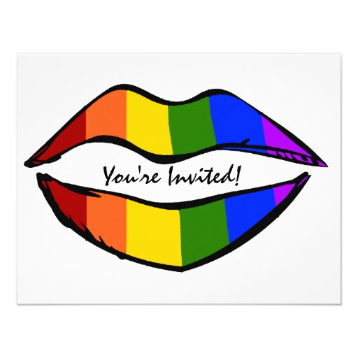 Rainbow Lips Invitation