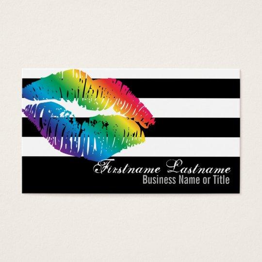 Rainbow Lips on Black & White Custom Bizcards Business Card