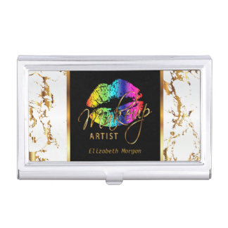 Rainbow Lips on Gold & White Marble Business Card Holder