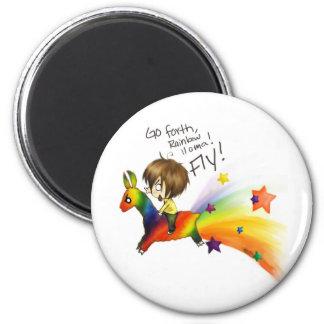 Rainbow Llama 6 Cm Round Magnet