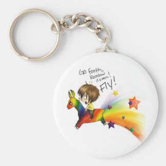 Rainbow Llama Basic Round Button Key Ring
