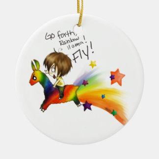 Rainbow Llama Christmas Ornament