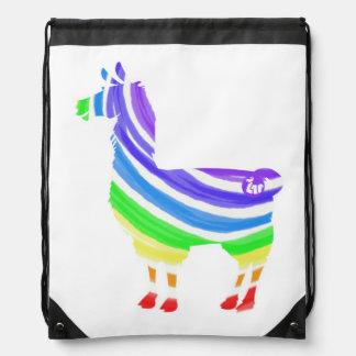 Rainbow Llama Drawstring Bag