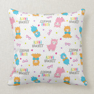 Rainbow Llama Party Throw Pillow