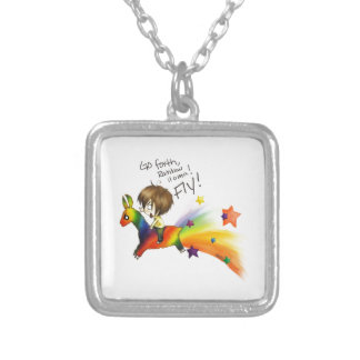 Rainbow Llama Silver Plated Necklace