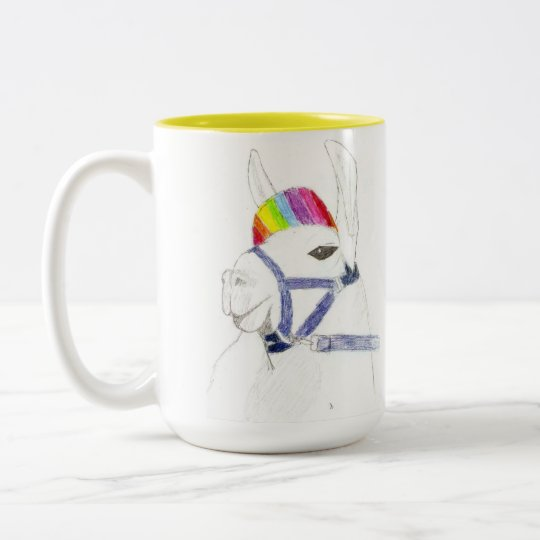 rainbow Llama Two-Tone Coffee Mug