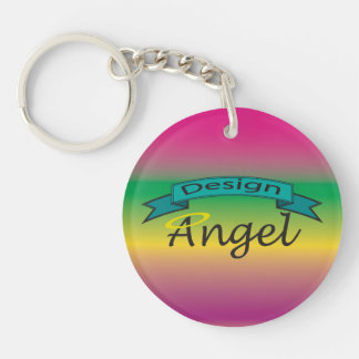 Rainbow Logo Branded Single Sided Key chain