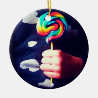 Rainbow Lollipop Round Ceramic Decoration