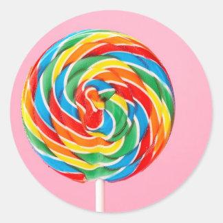 Rainbow Lollipop Round Stickers