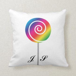 Rainbow Lollipop Sucker Swirl Candy Cushion