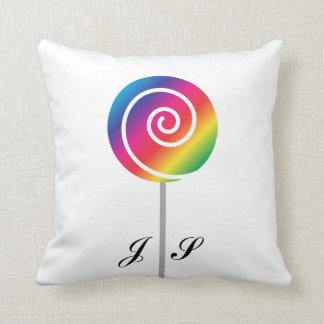 Rainbow Lollipop Sucker Swirl Candy Throw Pillow