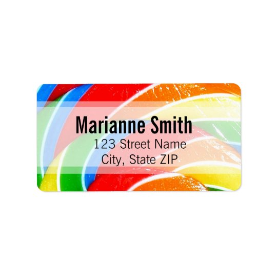 Rainbow Lolly Swirl Address Label