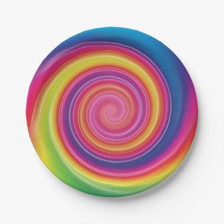 Rainbow Lollypop Colorful swirl Paper Plate
