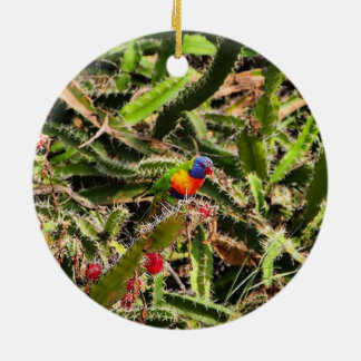 Rainbow Lorikeet in cactus ornament