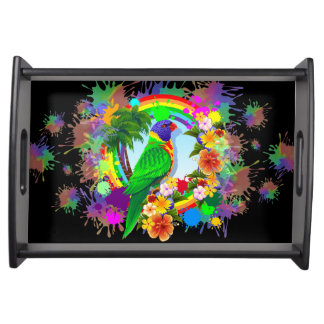 Rainbow Lorikeet Parrot Serving_Tray Serving Tray
