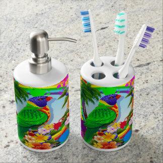 Rainbow Lorikeet Parrot Soap Dispenser And Toothbrush Holder