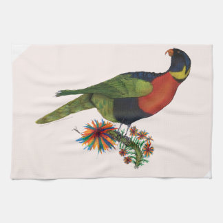rainbow lorikeet parrot, tony fernandes tea towel