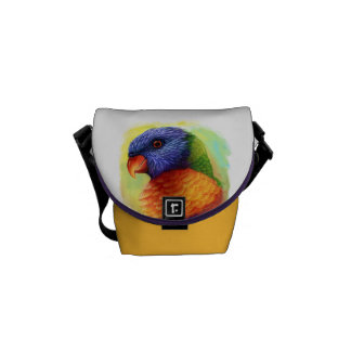 Rainbow lorikeet realistic painting messenger bags