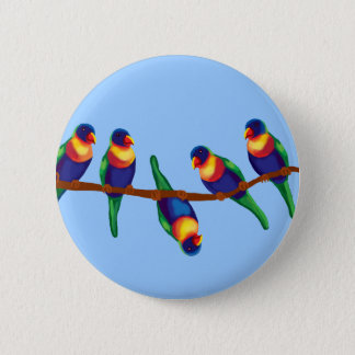Rainbow lorikeets 6 cm round badge