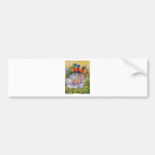 Rainbow Lorikeets + Fairy on HIbiscus Flower Bumper Stickers
