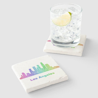 Rainbow Los Angeles skyline Stone Coaster