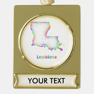 Rainbow Louisiana map Gold Plated Banner Ornament