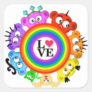 Rainbow~Love Design with The Peek-A-Boo Crew Square Sticker