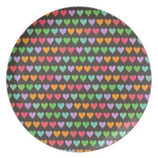 Rainbow Love Hearts Colorful Fun Pattern Chic Cute Plate