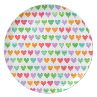 Rainbow Love Hearts Colourful Fun Pattern Chic Plates