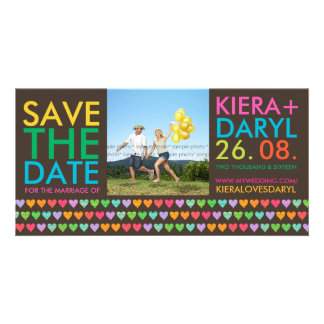 Rainbow Love Hearts Save The Date Photo Card