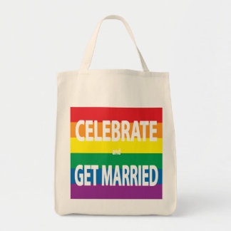 Rainbow Love, Pride, LGBT, Celebrate Love Grocery Tote Bag