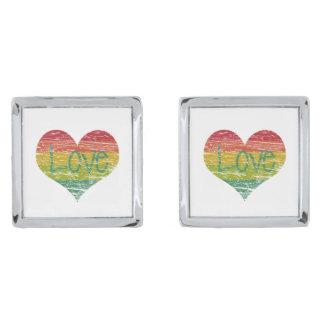 Rainbow Love Silver Finish Cuff Links